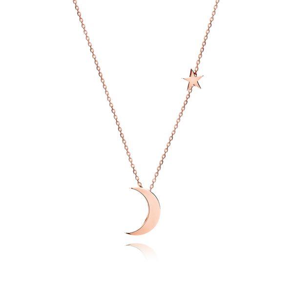Naszyjnik Księżyc z Gwiazdką różowe złoto