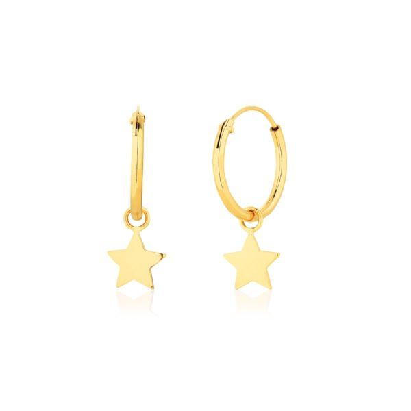 Kolczyki Koła z gwiazdką złote